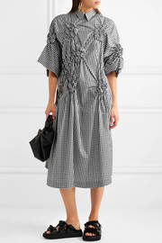 Simone Rocha Smocked gingham cotton-poplin midi dress