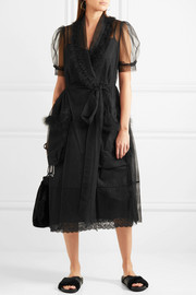 Simone Rocha Feather-trimmed tulle wrap midi dress