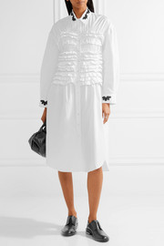 Simone Rocha Embellished smocked cotton-poplin shirt dress