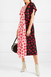 Simone Rocha Asymmetric printed crepe de chine midi dress