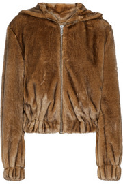 Helmut Lang Faux fur hooded bomber jacket