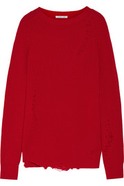 Helmut Lang Oversized distressed wool and cashmere-blend sweater
