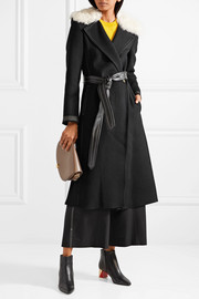 Helmut Lang Shearling-trimmed wool and cashmere-blend coat
