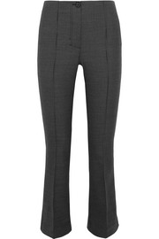 Houndstooth cropped wool-blend flared pants