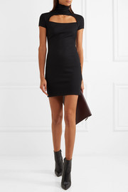 Helmut Lang Cutout silk-trimmed wool-blend turtleneck mini dress