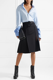 Helmut Lang Pleated wool-blend skirt