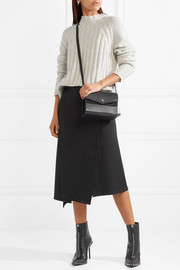 Asymmetric wrap-effect jersey midi skirt