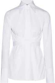 Helmut Lang Lace-up cotton-poplin shirt