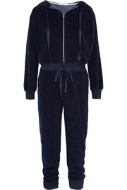 Hooded velour jumpsuit