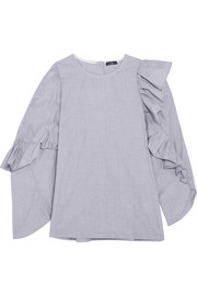 Asymmetric ruffled cotton top