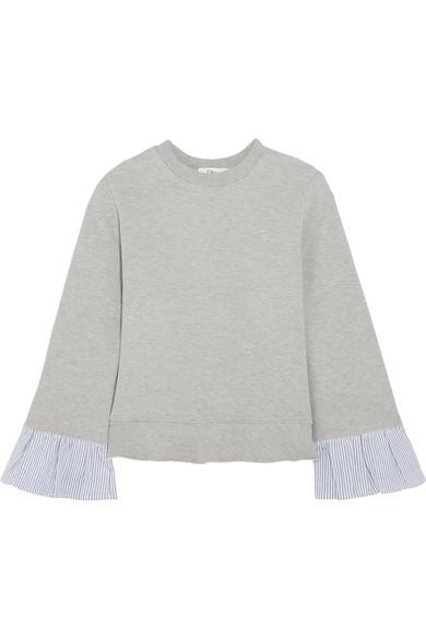 CLU Striped Poplin-paneled Cotton-blend Sweatshirt Vente De Nombreux Types De MGuwmpGO