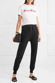 CLU Satin-trimmed pinstriped cotton-blend jersey track pants