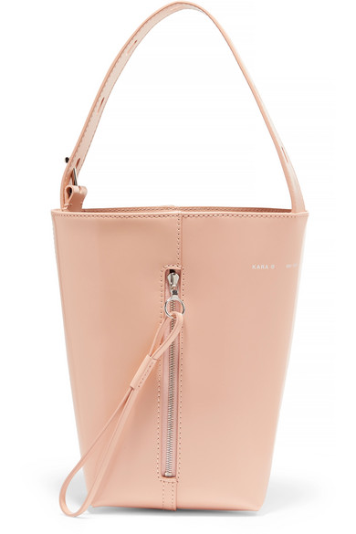 KARA - Box Pail Patent-leather Tote - Blush