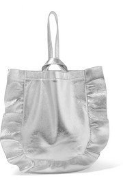 Ruffled metallic textured-leather wristlet bag
