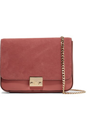 Lock suede and leather shoulder bag