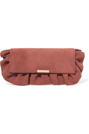 Ruffled suede clutch