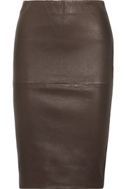 Floridia stretch-leather midi skirt