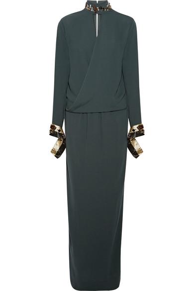 By Malene Birger - Akumal Embellished Wrap-effect Crepe Maxi Dress - Emerald