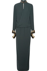 By Malene Birger Akumal embellished wrap-effect crepe maxi dress