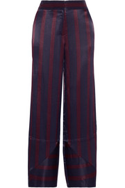 Greetha striped satin wide-leg pants