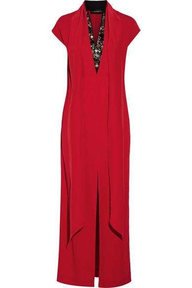 By Malene Birger - Lappi Crystal-embellished Crepe Maxi Dress - Red