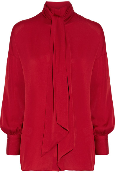 By Malene Birger - Simmy Silk-blend Pussy-bow Blouse - Claret
