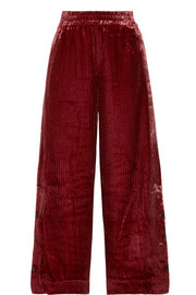 By Malene Birger Clamirana striped velvet wide-leg pants