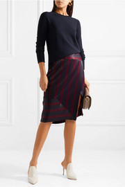 By Malene Birger Jamuli wrap-effect striped washed-satin midi skirt