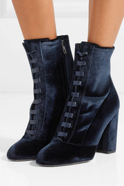 Clementine lace-up velvet ankle boots