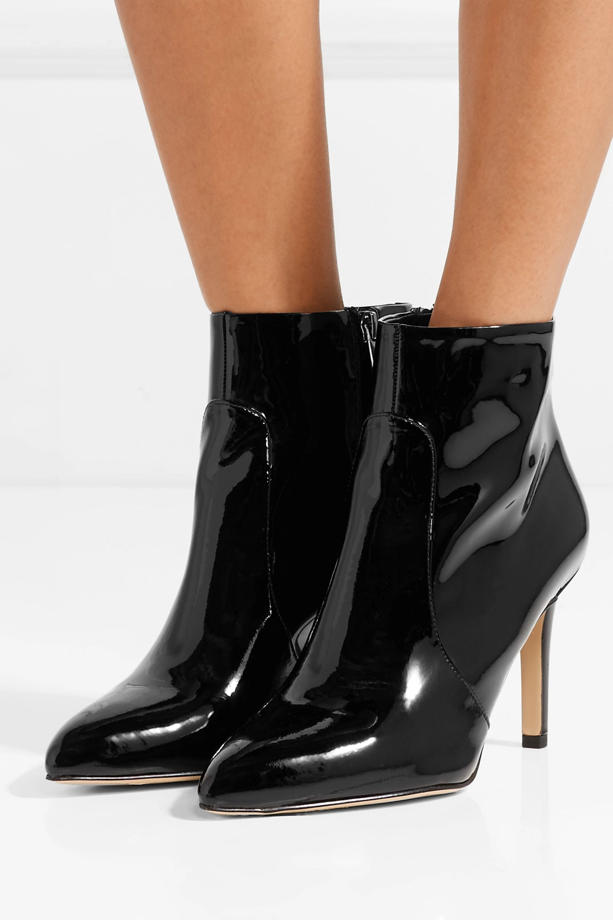 Black Olette patent-leather ankle boots