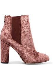 Case embossed velvet ankle boots