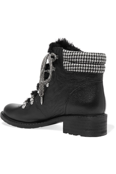 d275973f0114 Sam Edelman. Darrah faux fur-trimmed textured-leather ankle boots.  90.  Zoom In