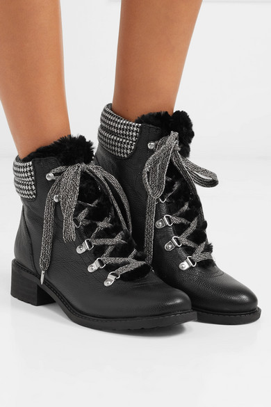 313be3d12628a Sam Edelman. Darrah faux fur-trimmed textured-leather ankle boots