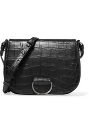 Little Liffner D Saddle medium croc-effect leather shoulder bag