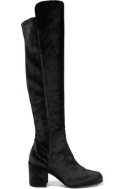 Lowjack stretch-velvet knee boots