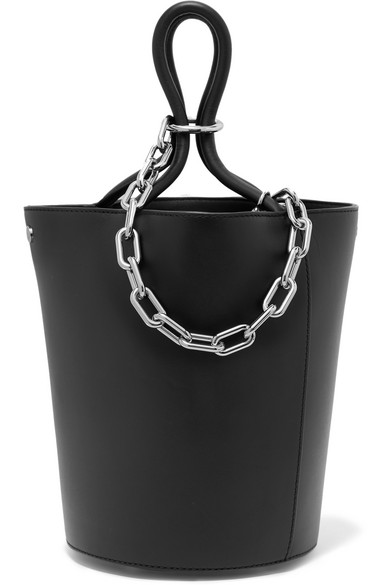 Roxy Chain-embellished Leather Bucket Bag - Black Alexander Wang rF2T7m