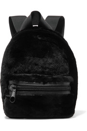 Primary medium leather-trimmed shearling backpack