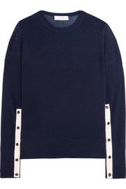 Wool and cashmere-blend open-knit sweater