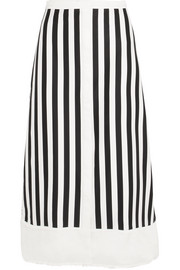 Bardot twill-trimmed striped cotton-blend midi skirt