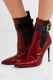 Wren buckled croc-effect leather ankle boots