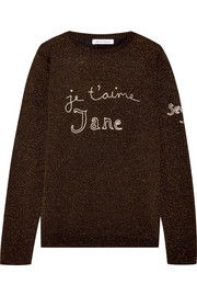 Bella Freud Je t'aime Jane embroidered metallic wool-blend sweater