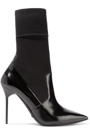 Burberry District glossed-leather and stretch-knit sock boots
