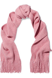 Francie fringed ribbed merino wool-blend scarf