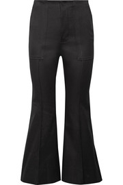 Cropped cotton-blend flared pants