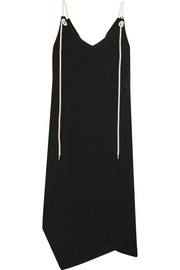Shoestring asymmetric crepe midi dress
