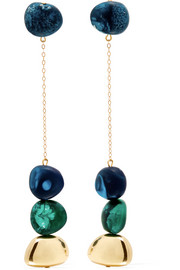 Mineral gold-filled resin earrings