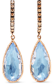 Caprice Pear 14-karat rose gold, diamond and quartz earrings