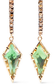 Caprice Kite 14-karat gold, citrine and diamond earrings