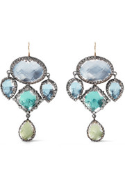 Sadie Girandole rhodium-dipped quartz earrings