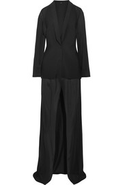 Stretch-silk chiffon and neoprene robe